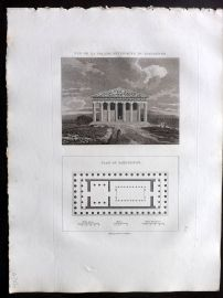 Barthelemy 1824 Antique Print. Vue de la Facade Anterieure du Parthenon. Greece